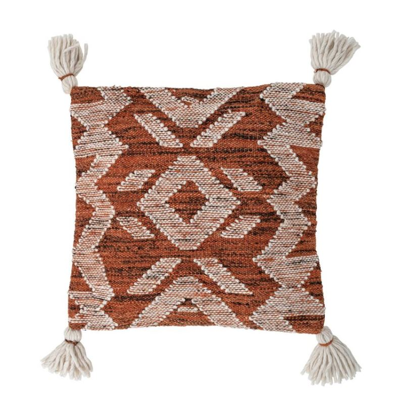 "20"" Square Woven Cotton & Wool Pillow with Tassels, Cream & Rust Color"