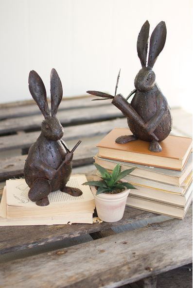 Set of 2 Rustic Drip Weld Rabbits