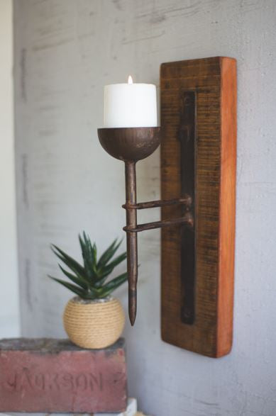Recycled Wood & Forged Iron Candle Sconce