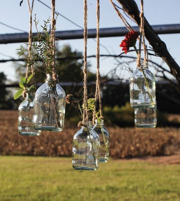 Glass Hanging Bottle with Jute Rope