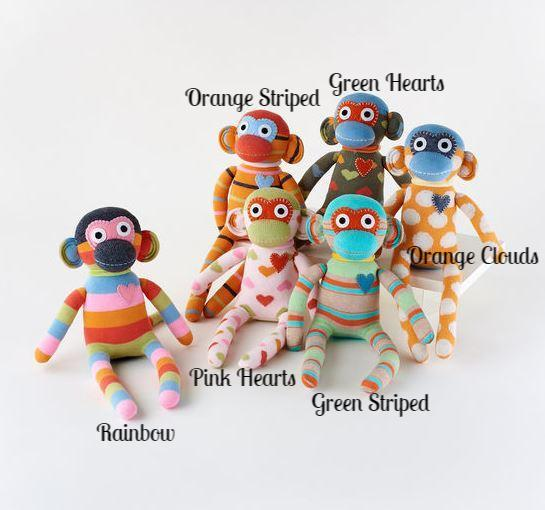 Knitted Sock Monkey Doll - 6 Styles