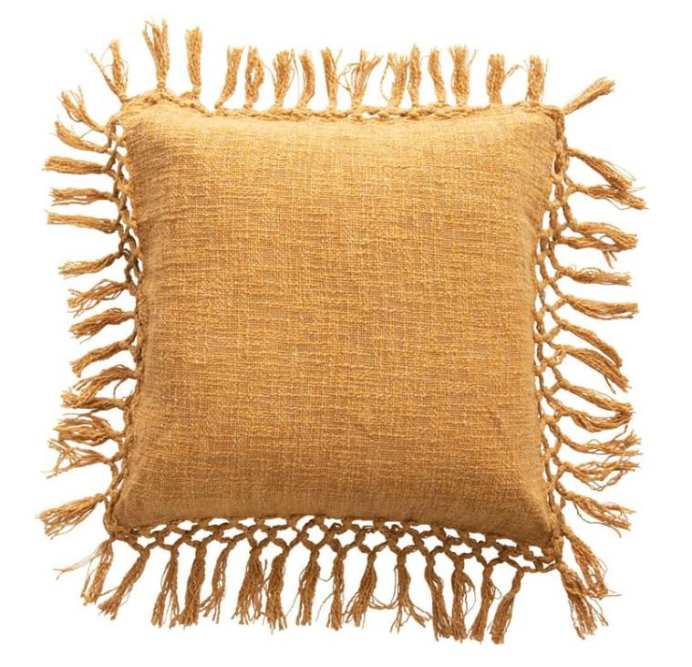 "20"" Square Cotton Slub Pillow with Tassels, Mustard Color"