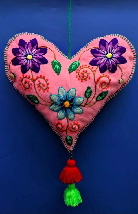 Peruvian Embroidered Hearts