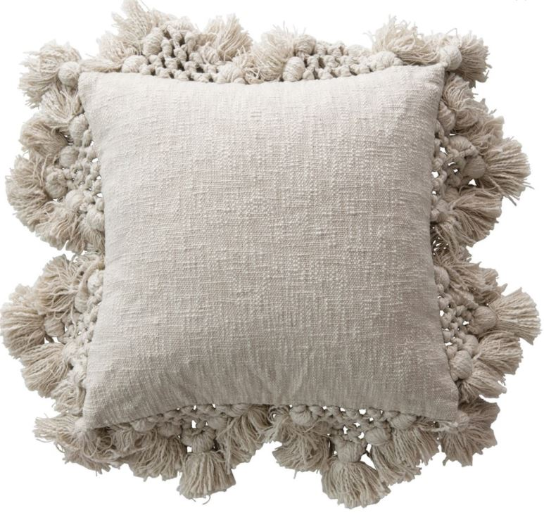 "18"" Square Cotton Slub Pillow with Crochet & Tassels - 2 Colors"