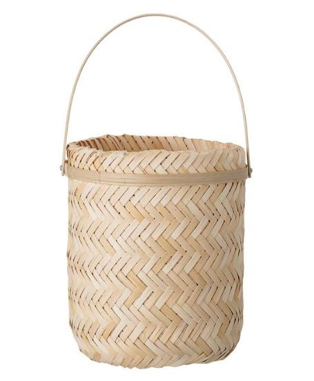 Hanging Woven Bamboo Planter with Rope Hanger