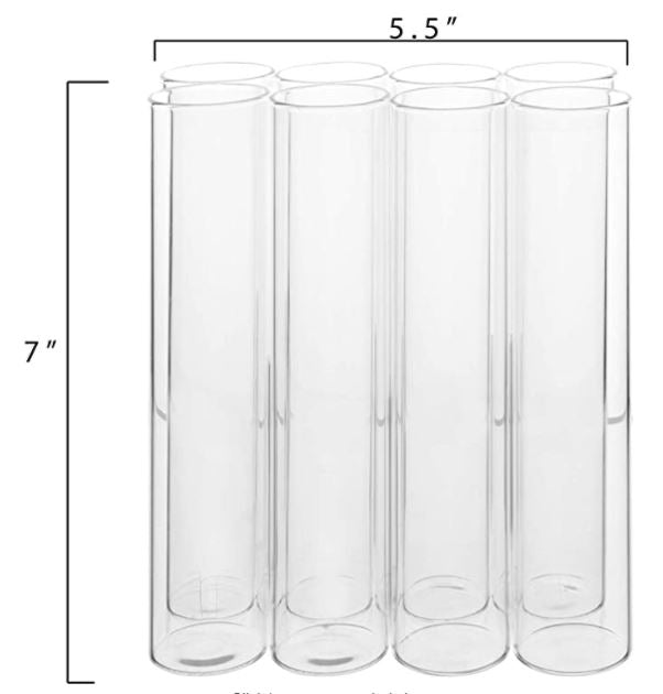 Clear Glass Connected 8 Tubes Table Vase