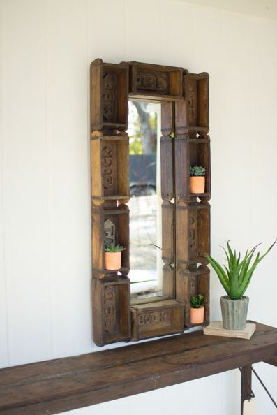 Large Re-Purposed Rectangle Brick Mold Mirror/Shelf