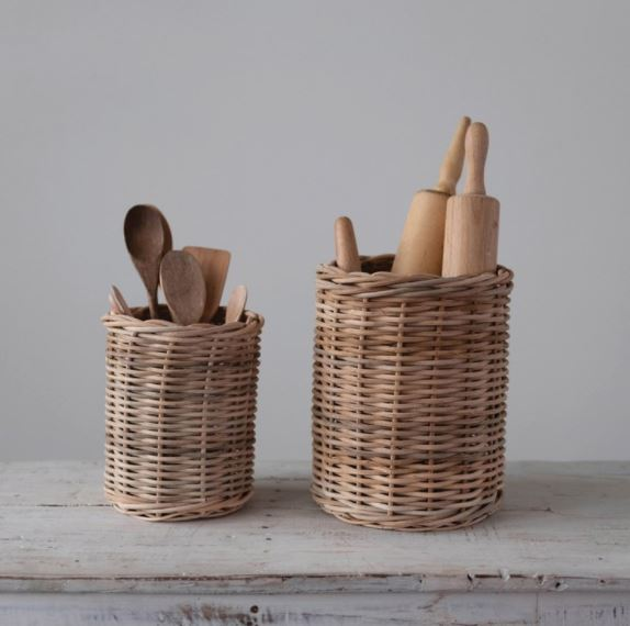 Hand-Woven Wicker Basket/Container, Natural - 2 Sizes