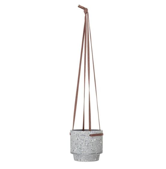 Hanging Cement Terrazzo Planter with Leather Hanger