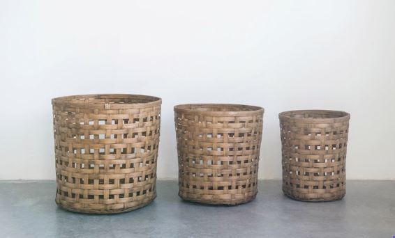 Woven Bamboo Bushel Baskets - 3 Sizes