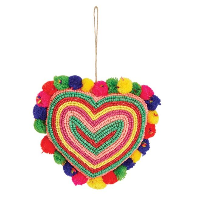 Glass Bead Fabric Heart Ornament with Pom Poms