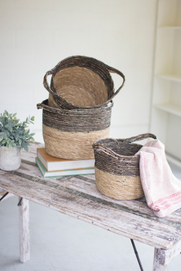 Black and Natural Baskets - 3 Sizes