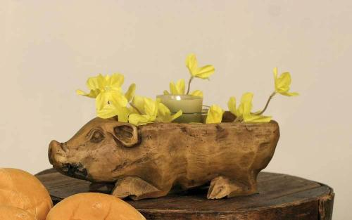 Small Pig Wood Bowl