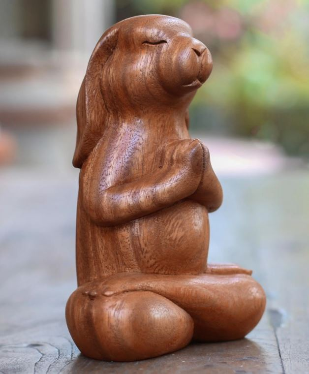 "Suar Wood Yoga Bunny Sculpture from Bali, ""Praying Bunny"""