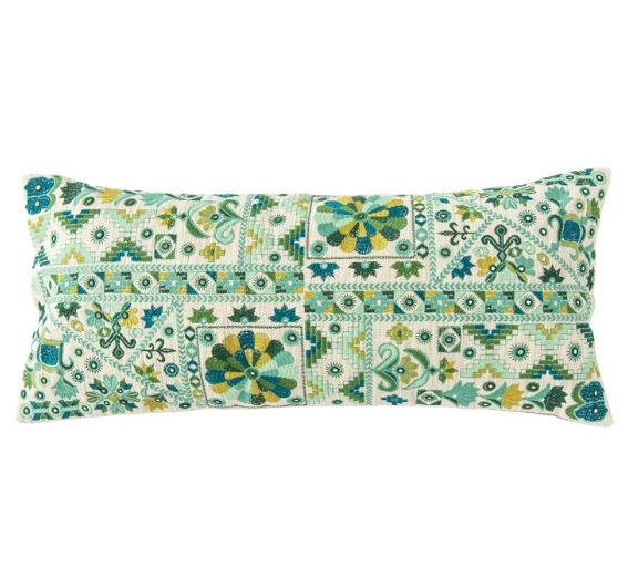 Teal & Green Cotton Embroidered Patchwork Lumbar Pillow