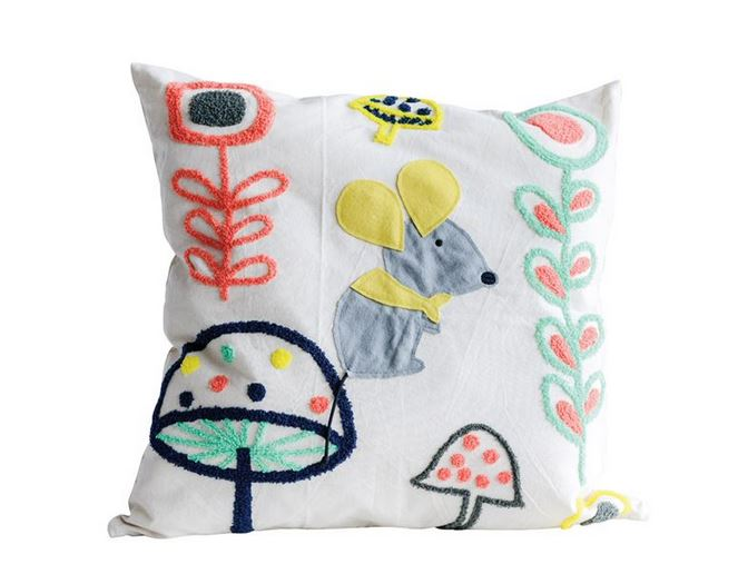 "24"" Square Cotton Pillow with Mouse"