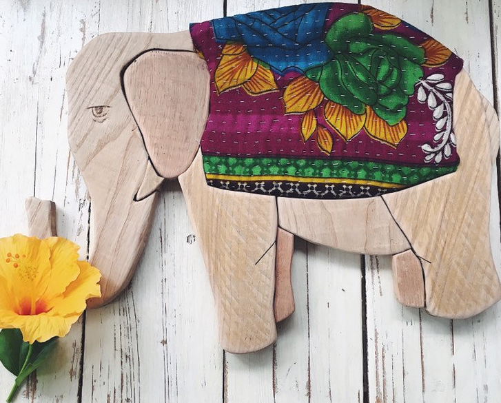 Wood Elephant with Kantha Fabric