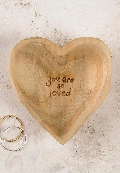 You Are So Loved Wooden Heart Dish