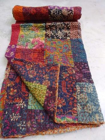 Multi Colored Twin Kantha Patchwork Quilt