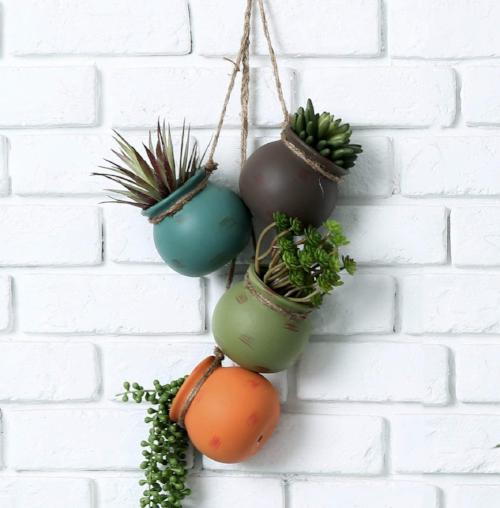 Hanging Multicolor Ceramic 4 Pot Set - 3 Colors