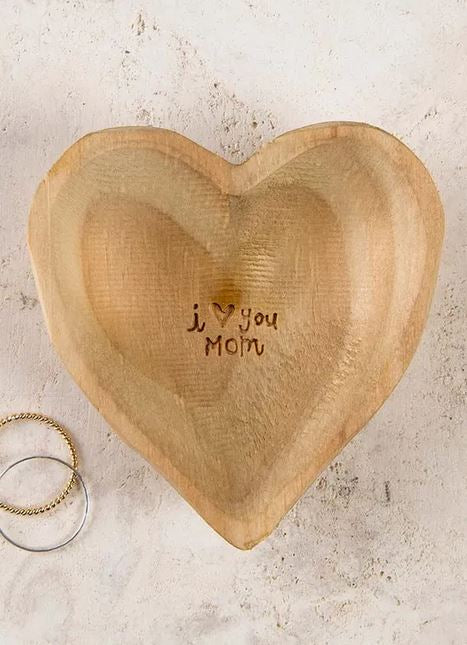 I Love You Mom Wooden Heart Dish