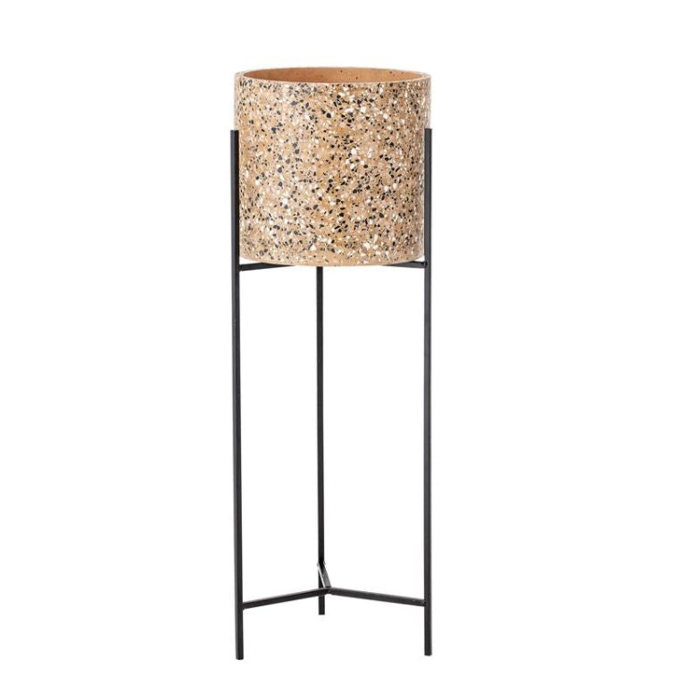 Cement Terrazzo Planter with Metal Stand, Mustard