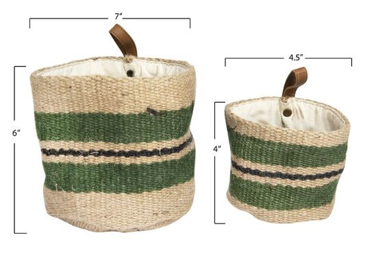 Green Stripes Jute Baskets with Leather Loop - 2 Sizes