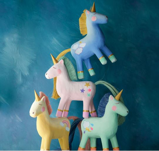 Paper Mache Unicorns - 4 Colors