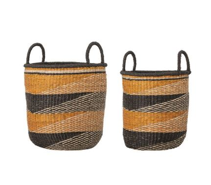 Woven Baskets with Pattern & Handles, Black, Natural & Mustard