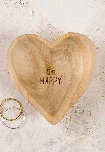 Be Happy Wood Heart