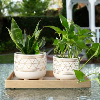 Geo Ceramic Planter With Legs