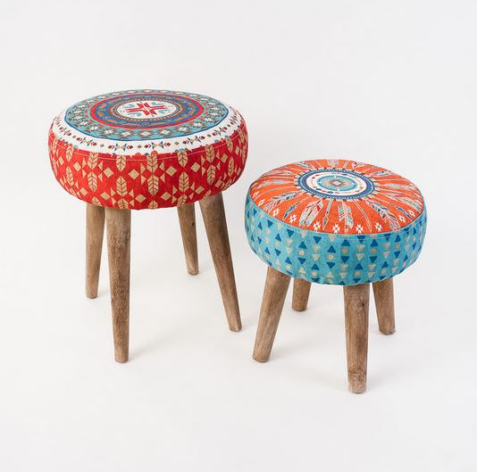 Southwestern Fabric Stool with Wooden Legs - 2 Sizes