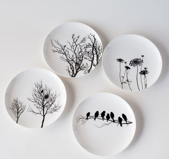 Set of 4 Bone China Silhouette Plates