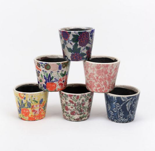 Set of 6 Color Stoneware Pots