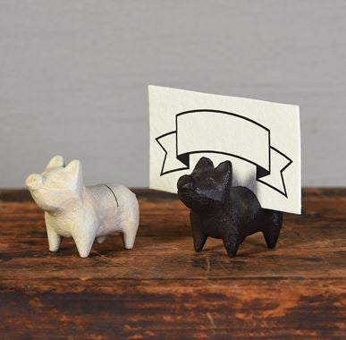 Cast Iron Pig Card Holders - 2 Colors