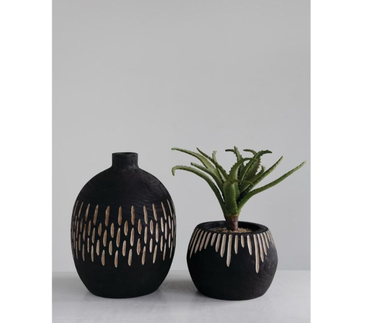 "Paulownia Wood Planter with Carved Design, Charred Black Finish (Holds 5"" Pot)"