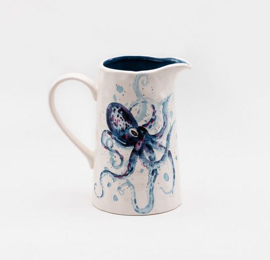 Ceramic Watercolor Octopus Pitcher