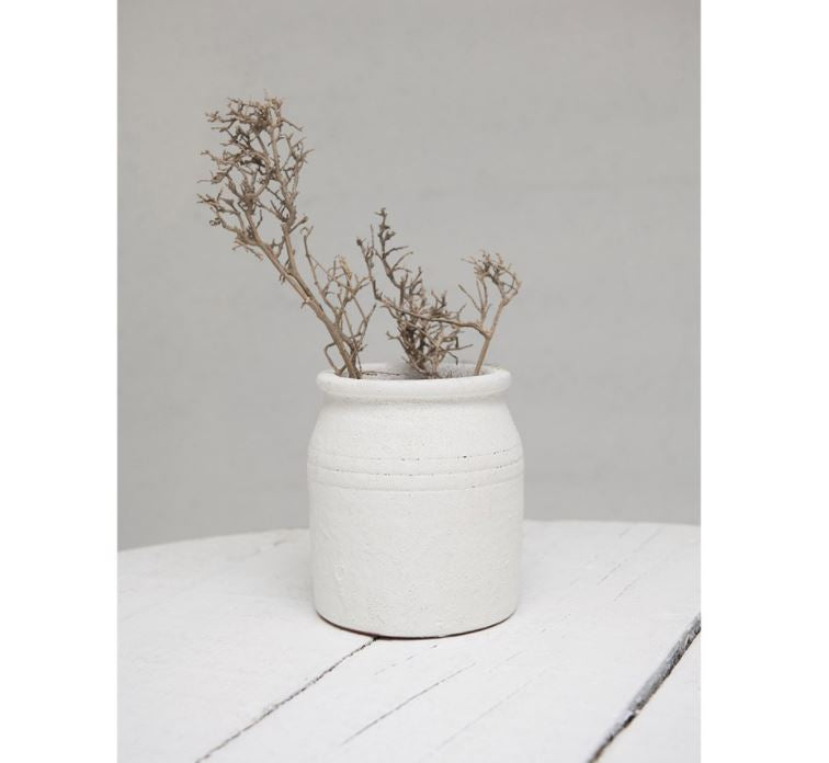 Decorative Coarse Terra-cotta Crock, Distressed White Volcano Glaze
