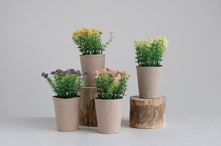 Faux Blooms in Paper Pot