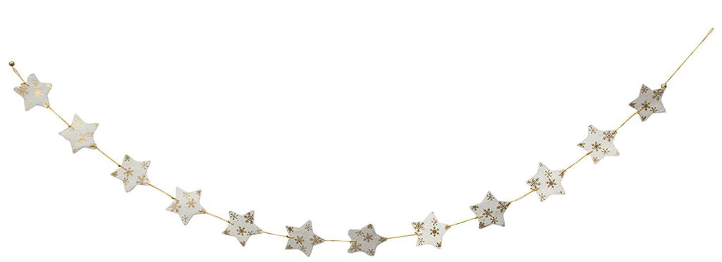 "79"" Paper Star Garland - White and Gold Foil"