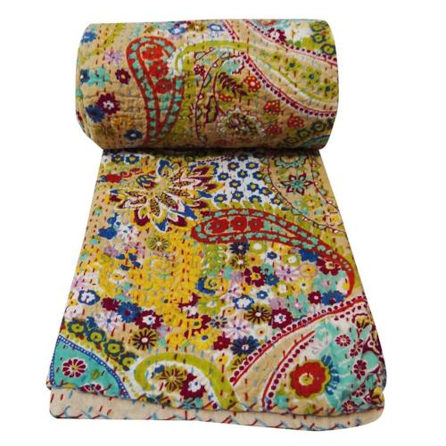 Yellow Twin Kantha Patchwork Quilt