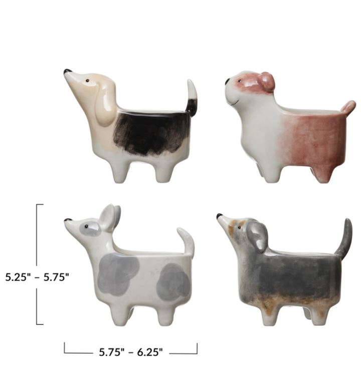 Hand-Painted Ceramic Dog Planter - 4 Styles