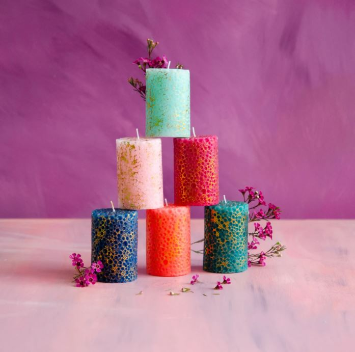 Bubbly Candle with Gold Leaf - 6 Colors