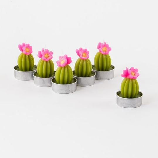 Set of 6 Flowering Cacti TeaLight Candles