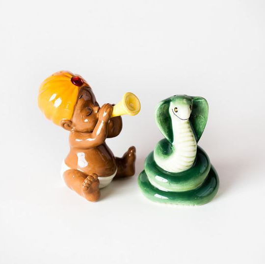 Ceramic Snake Charmer Salt & Pepper Shakers