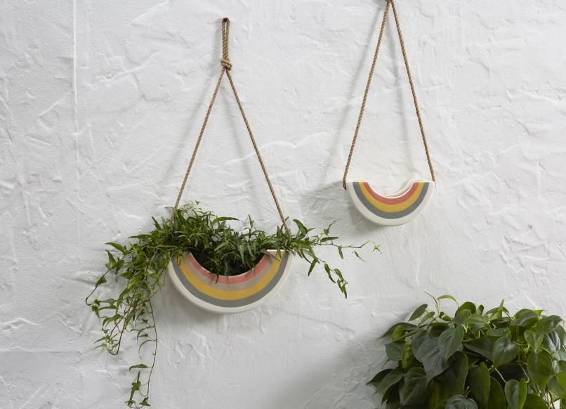 Rainbow Hanging Planter With Planter