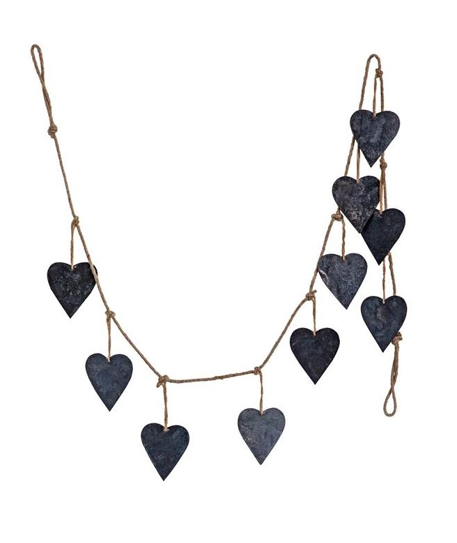 "72""L Jute & Metal Heart Garland, Iron Finish"