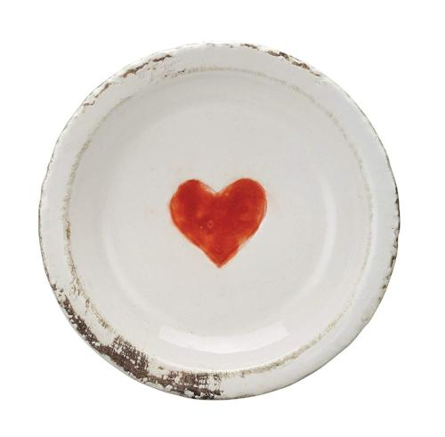 Distressed White Terra Cotta Plate with Red Heart