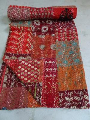 Red King Kantha Patchwork Quilt