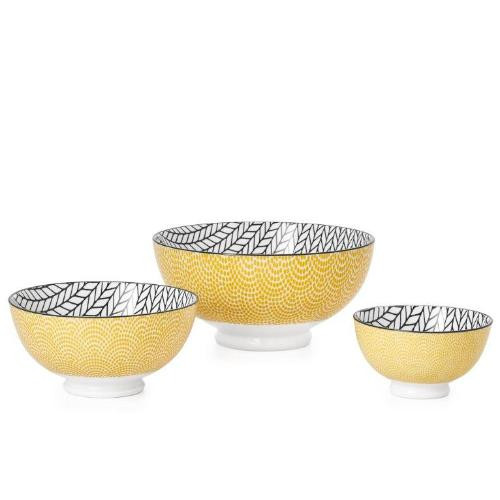 Kiri Porcelain Yellow Rope Bowl - 3 Sizes
